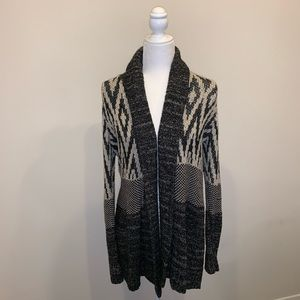 Lucky Brand Grey and Black Long Cardigan